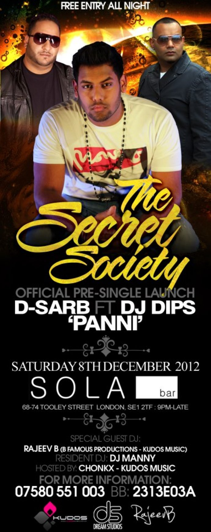 DJ Dips Hosts a FREE ENTRY party in London to celebrate the up and coming release of his next single ft D-Sarb
